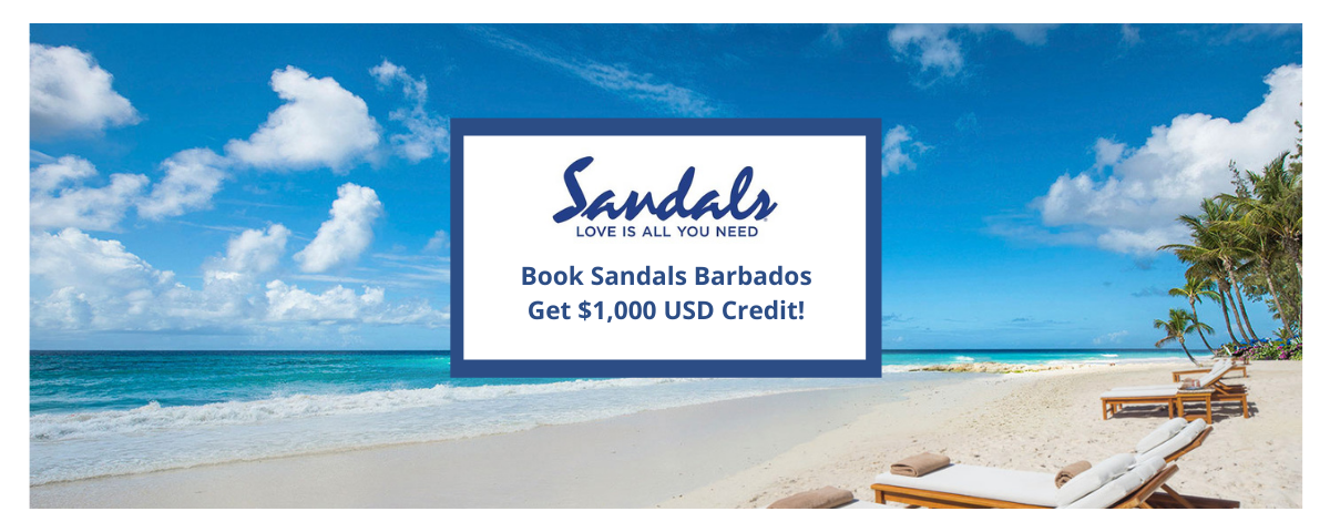 Sandals Barbados - Up to $1000 Instant Credit!
