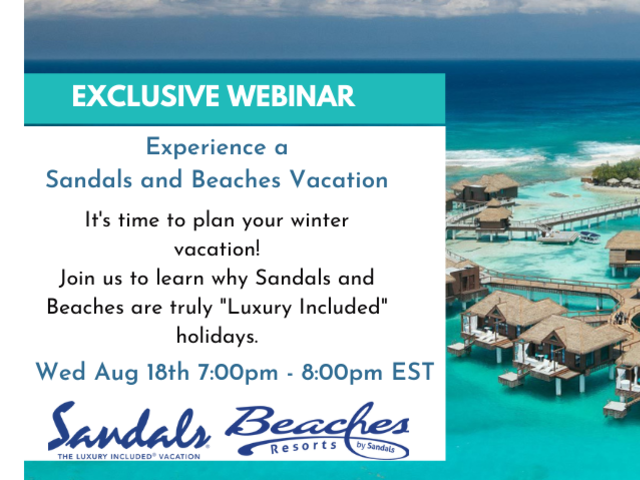 Virtual Consumer Night with Sandals and Beaches Aug 18, 2021