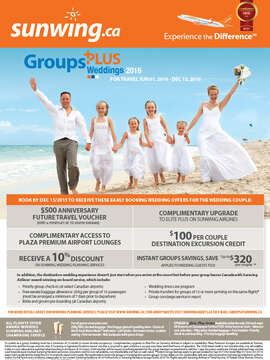Group + Wedding Discounts Travel June 1 - Dec 13, 2016