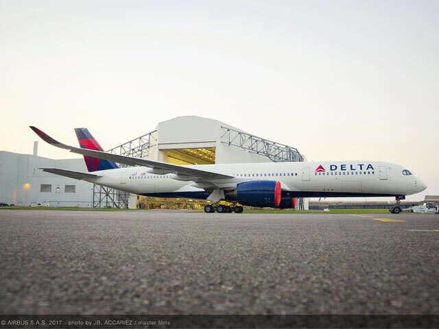 First look: Flagship A350 outfitted in Delta colors