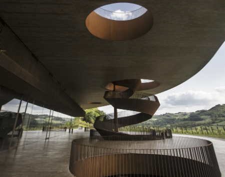 Spiral staircase on modern building at Antinori Winery