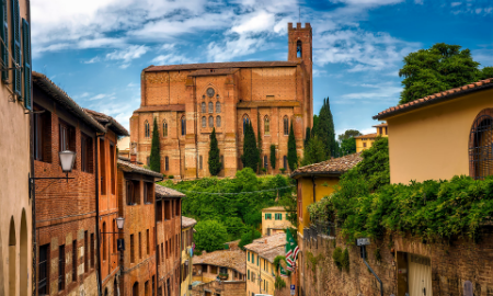 Stone buildings and basilica in Siena