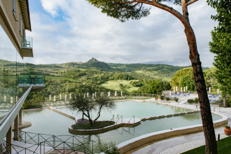 Albergo Posta Macucci hot springs overlooking Tuscan hills