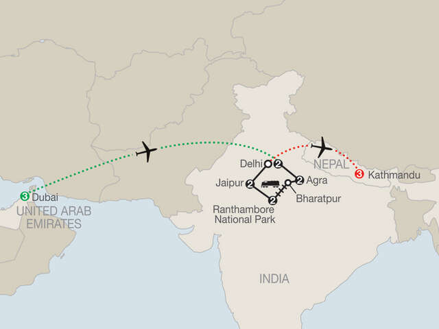 Icons of India: The Taj, Tigers & Beyond with Dubai & Nepal