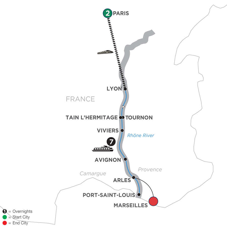 Active Discovery on the Rhône with 2 Nights Paris – Southbound