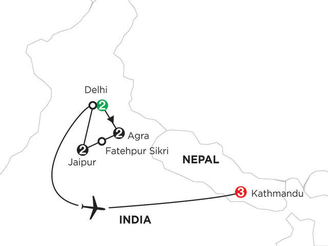 India's Golden Triangle with Kathmandu