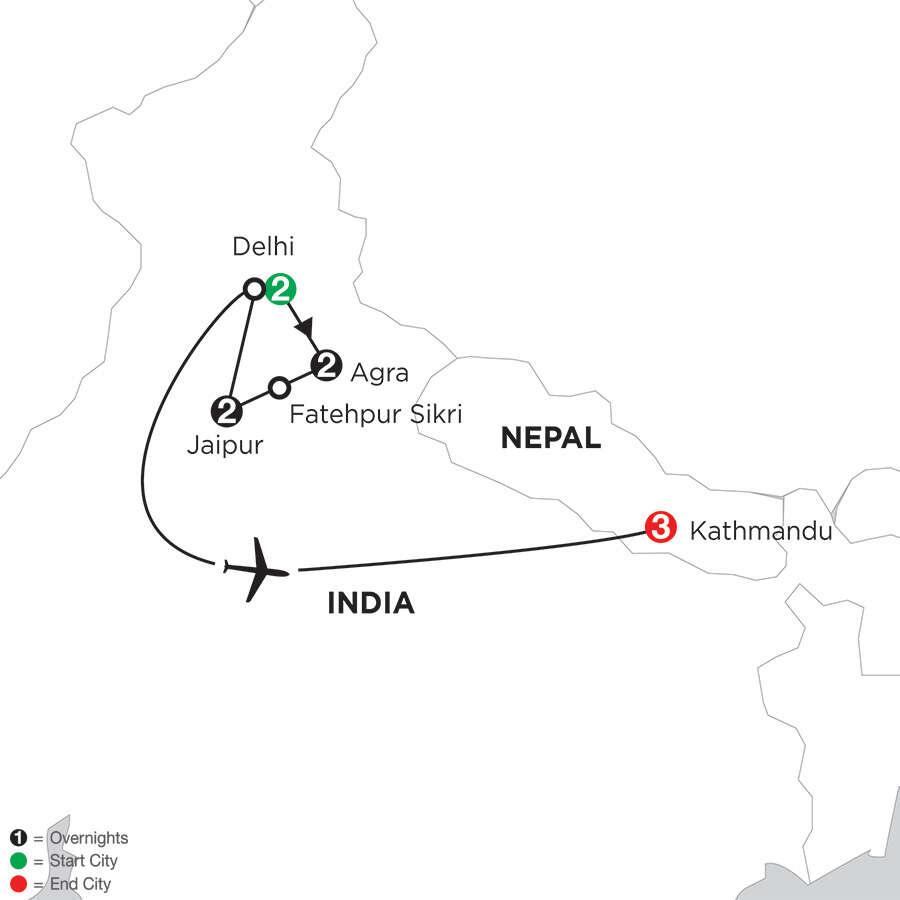 India's Golden Triangle with Kathmandu